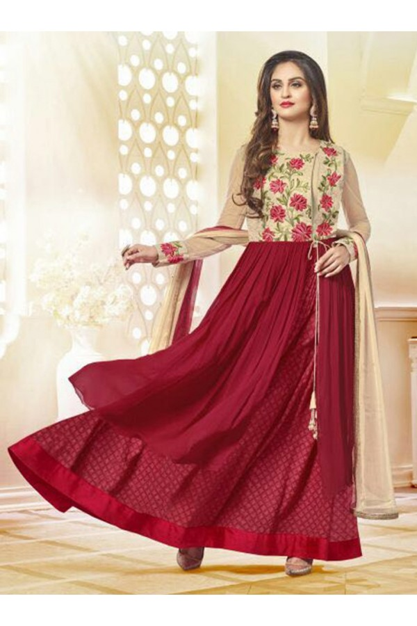 Party Wear Red & Cream Georgette Anarkali Suit  - 78964