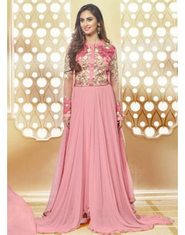 Party Wear Pink Georgette Anarkali Suit  - 78968