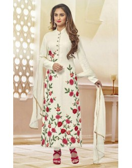 Party Wear White Net Embroidery Salwar Suit  - 78969