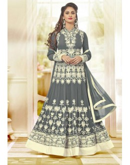 Wedding Wear Grey Georgette Anarkali Suit  - 78970