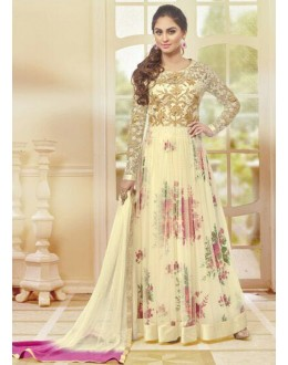 Festival Wear Cream Net Anarkali Suit  - 78971