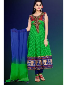 Festival Wear Green & Blue Cotton Anarkali Suit  - 78972