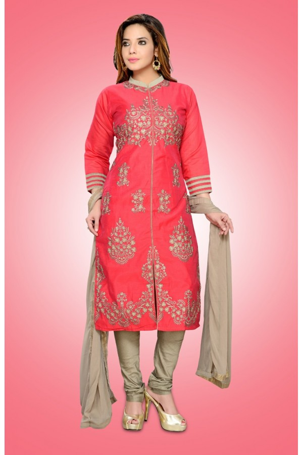 Party Wear Readymade Pink Chanderi Silk Salwar Suit - 78974