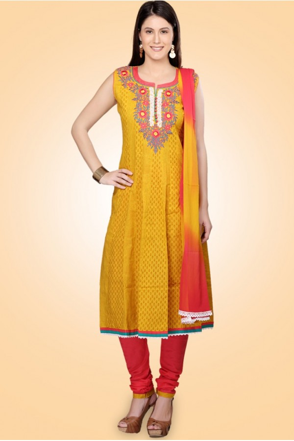 Ethnic Wear Yellow & Red Cotton Anarkali Suit  - 78981