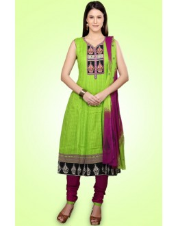 Party Wear Green & Violet Cotton Anarkali Suit  - 78983