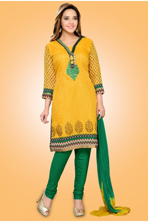 Festival Wear Readymade Yellow Chiffon Salwar Suit - 78986