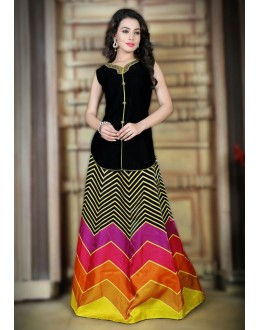 Fancy Multi-Colour Satin Lehenga Choli - 78987