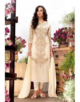 Festival Wear Cream Georgette Salwar Suit  - 79200