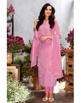 Party Wear Pink Georgette Salwar Suit  - 79202