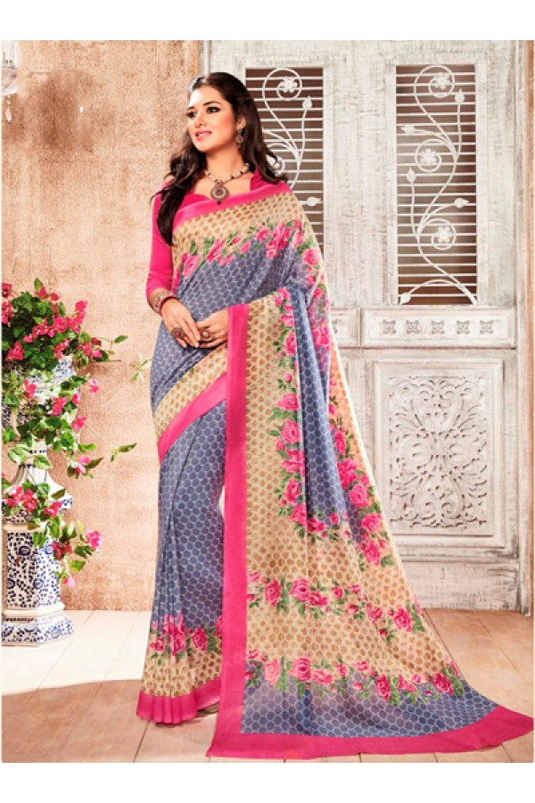 Festival Wear Blue & Pink Silk Saree  - 79237