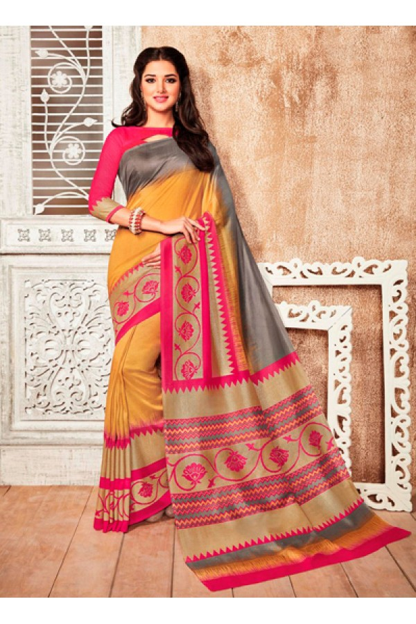 Festival Wear Yellow & Pink Silk Saree  - 79238