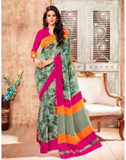Ethnic Wear Green Silk Saree  - 79239