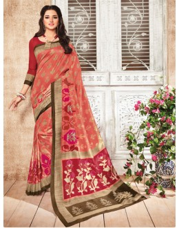Party Wear Pink Silk Saree  - 79243