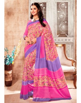Multi-Colour Silk Printed Saree  - 79244