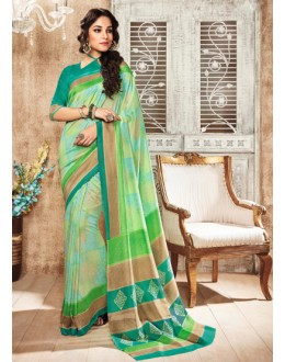 Casual Wear Green Silk Saree  - 79245