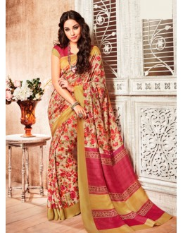 Silk Multi-Colour Printed Saree  - 79247