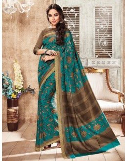 Ethnic Wear Aqua Blue Silk Saree  - 79249