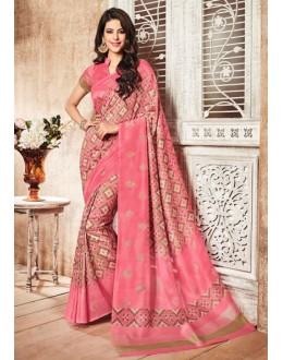Party Wear Pink Silk Printed Saree  - 79250