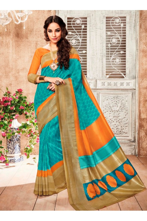Festival Wear Turquoise & Orange Silk Saree  - 79253
