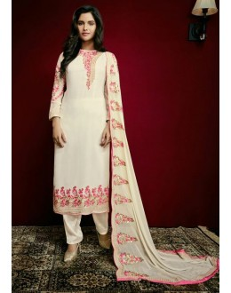 Party Wear Off White Georgette Salwar Suit  - 79309