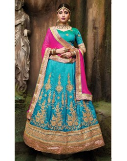 Festival Wear Sky Blue Silk Embroidery Lehenga Choli - 79360