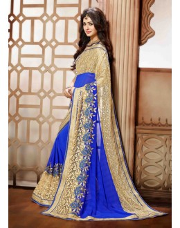 Ethnic Wear Blue Georgette Saree - 79363