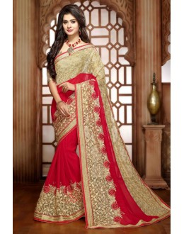 Party Wear Red Georgette Saree - 79367