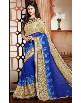 Party Wear Blue Georgette Saree - 79371