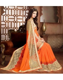 Wedding Wear Orange Georgette Saree - 79372