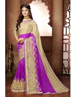 Party Wear Purple Georgette Saree - 79373
