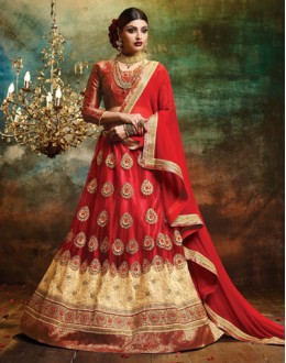 Designer Red Net Lehenga Choli - 79376