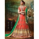 Wedding Wear Orange Net Lehenga Choli - 79377
