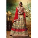 Wedding Wear Beige Net Lehenga Choli - 79380