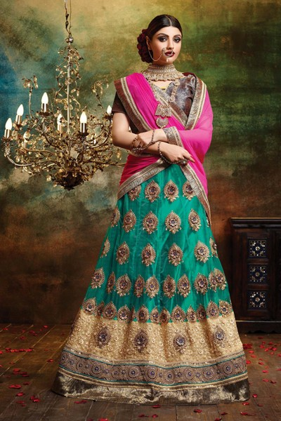Wedding Wear Green Net Lehenga Choli - 79381