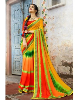 Chiffon Multi-Colour Printed Saree  - 79428