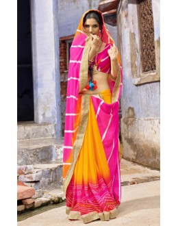 Ethnic Wear Pink Chiffon Saree  - 79430