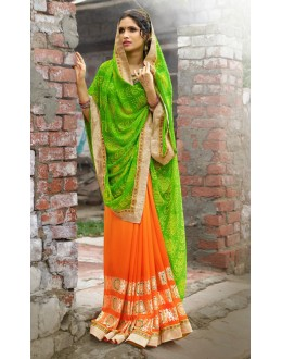 Chiffon Green & Orange Printed Saree  - 79431