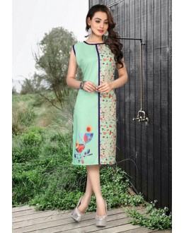 Casual Wear Readymade Green Kurti - 80222