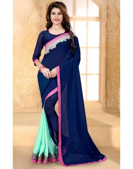 Party Wear Blue Georgette Saree  - 80255