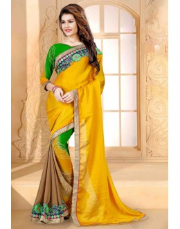 Ethnic Wear Yellow Georgette Saree  - 80256