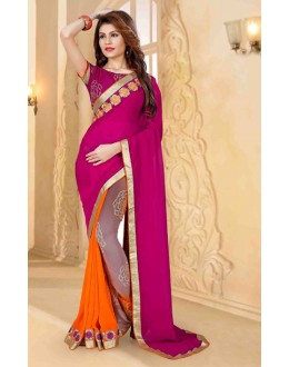 Casual Wear Pink Georgette Saree  - 80257