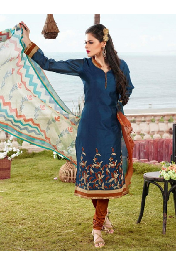 Office Wear Readymade Blue Salwar Suit - 79836