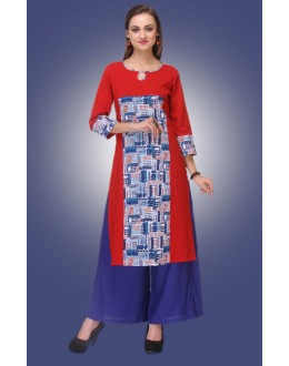 Office Wear Readymade Red Cotton Kurti - 80012