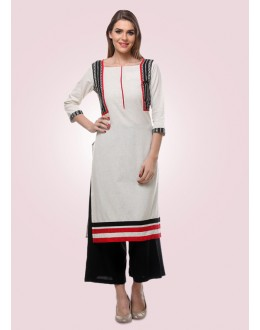 Office Wear Readymade White Cotton Kurti - 80014