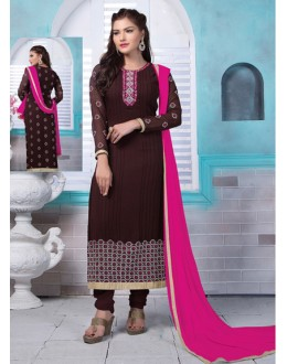 Ethnic Wear Brown Georgette Salwar Suit  - 80187