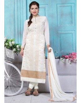 Party Wear Off White Georgette Salwar Suit  - 80191