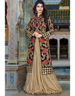 Wedding Wear Black Velvet Lehenga Suit  - 80195