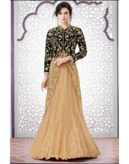 Party Wear Black & Beige Net Lehenga Suit  - 80197