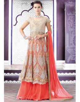 Ethnic Wear Beige Net Lehenga Suit  - 80199