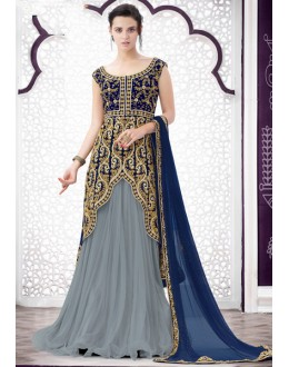 Wedding Wear Grey Net Lehenga Suit  - 80204